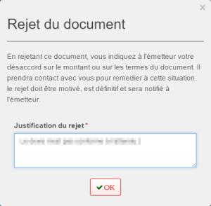Reject d'un document dématérialisé