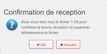 confirmation de téléchargement de fichiers